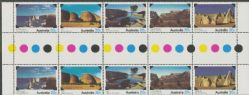 SG 708a National Parks strip of 5 colour control gutter strip of 10 (AF1/337)